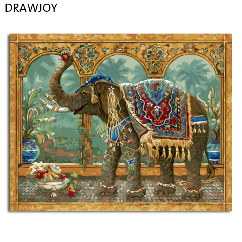 New Frameless Pictures Painting By Numbers DIY Digital Oil Painting On Canvas Home Decor Wall Art Abstract Elephant GX4649(China (Mainland))