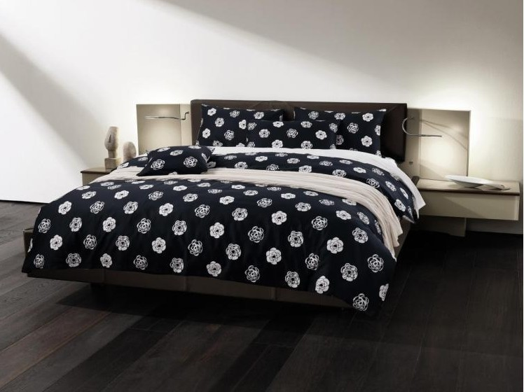 black and white floral flower bedding set luxury egyptian cotton sheets king queen size quilt. Black Bedroom Furniture Sets. Home Design Ideas
