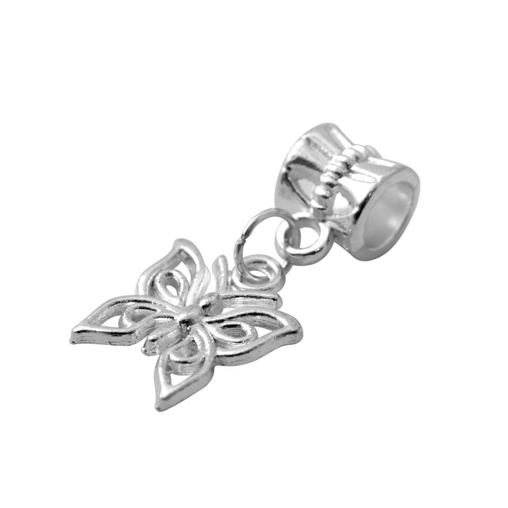 Free Shipping European Silver Butterfly Beads Alloy Bead Charm Fit Pandora Women Charms Bracelets & Bangles Jewelry B19