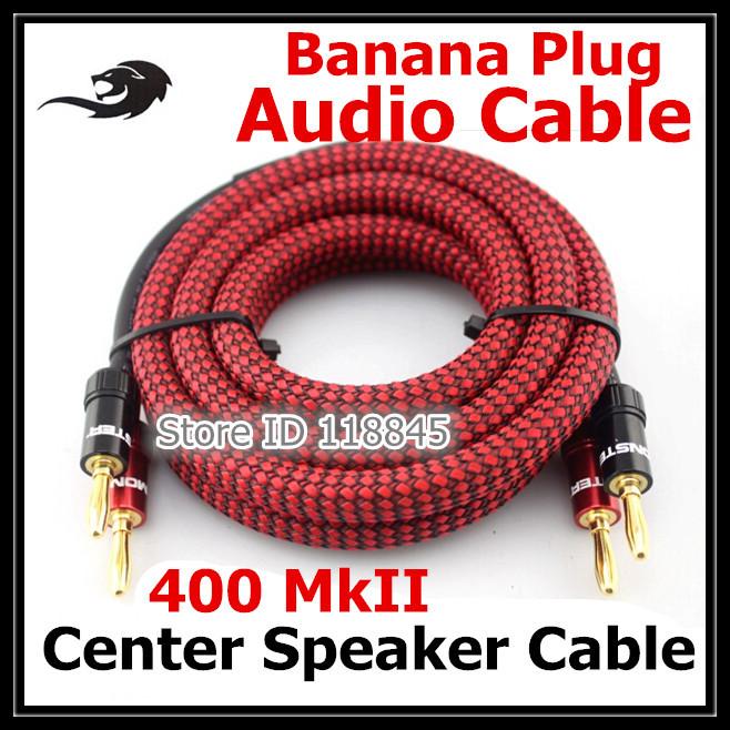 grade fever fidelity stereo: speaker wire,   copper banana head main center speaker cable  ,1M (banana-TO banana-TO)