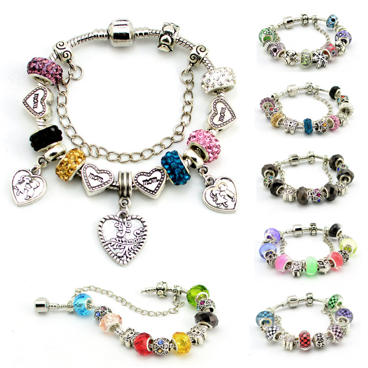 New Wholesale Arrival Silver Plated Charm Bracelet Crystal Ceramic Pendant Bracelets & Bangles for Women Fashion DIY Jewelry(China (Mainland))