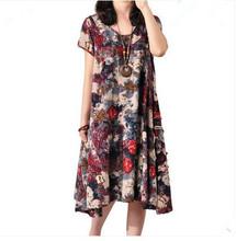 2016 new summer maternity dresses cotton and linen print plus size women's dresses pregnant dresses 16087