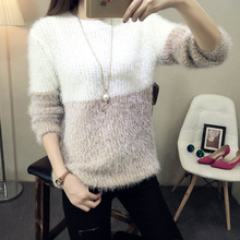 2016 Autumn Women Sweater Warm Mohair Mixed colors O Neck Women Pullover Long Sleeve Casual Loose Sweater Knitted Tops A052(China (Mainland))