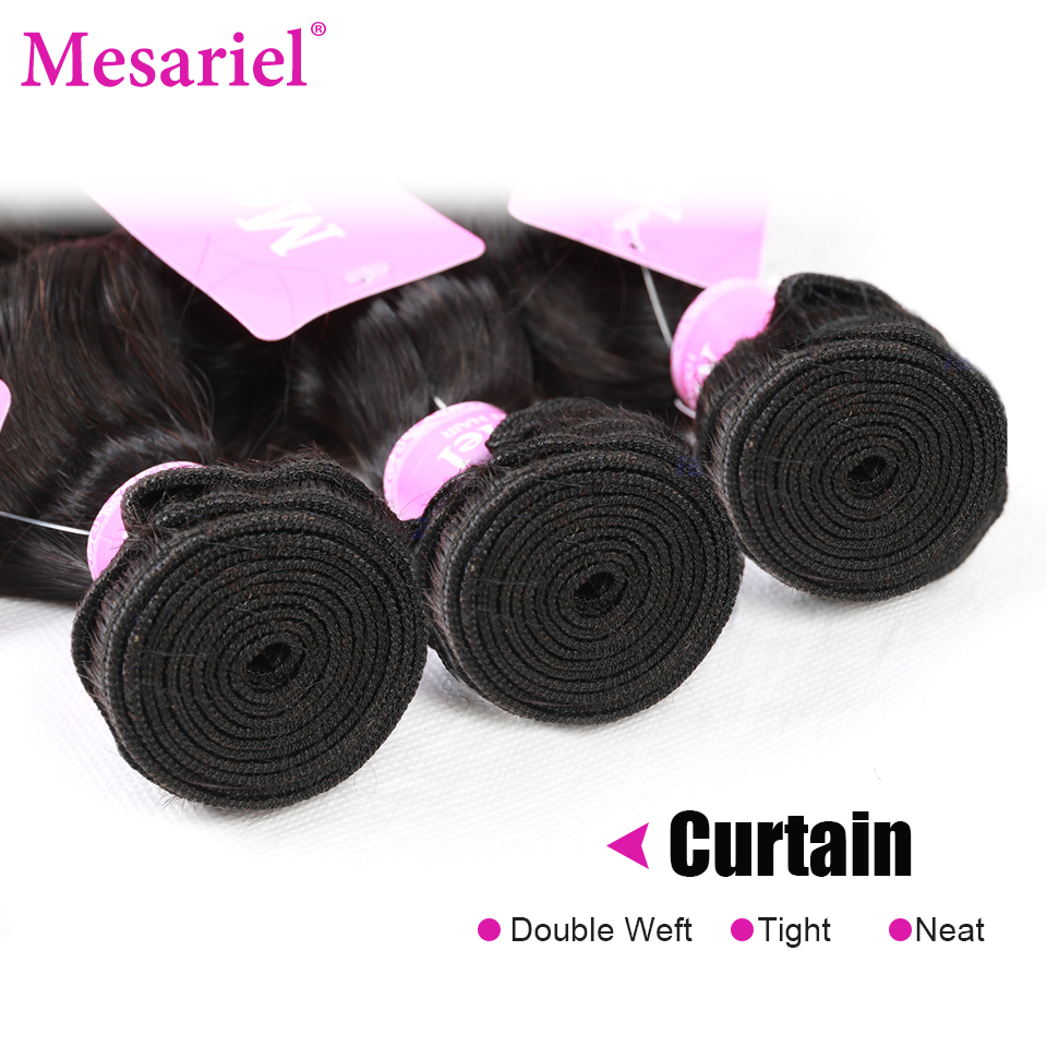 Mesariel Peruvian Virgin Hair Loose Wave Weave Natural Black Color Bundles Free Shipping 100 Human Hair