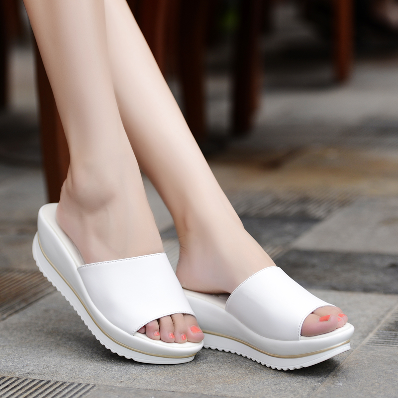 Summer 2016 New leather sandals and slippers women platform sandals shoes wedges platform shoes with comfort in Korea<br><br>Aliexpress