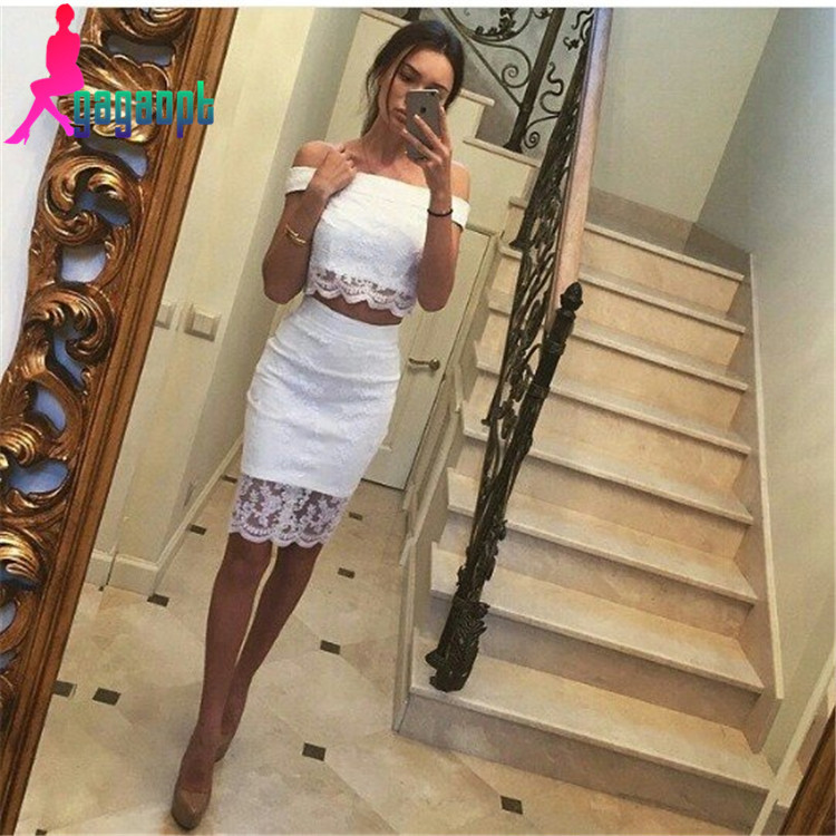 Gagaopt 2015 Russian Style White Lace Sexy Two Pieces Dress For Women Free Shipping(China (Mainland))