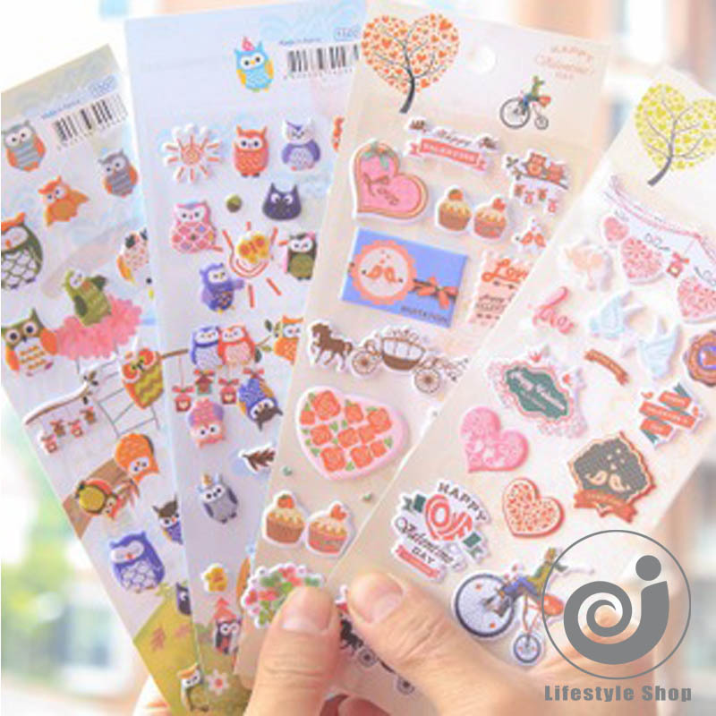 4sheets /lot kawaii 3D bubble stickers decoration decal sticker DIY diary album scrapbooking stationery<br><br>Aliexpress