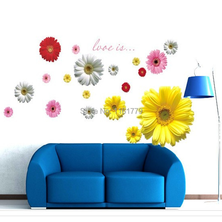 good quality multicolor bellis perennis flower wall sticker for living room /bed room/cabinet decor 60*90 cm free shiping(China (Mainland))
