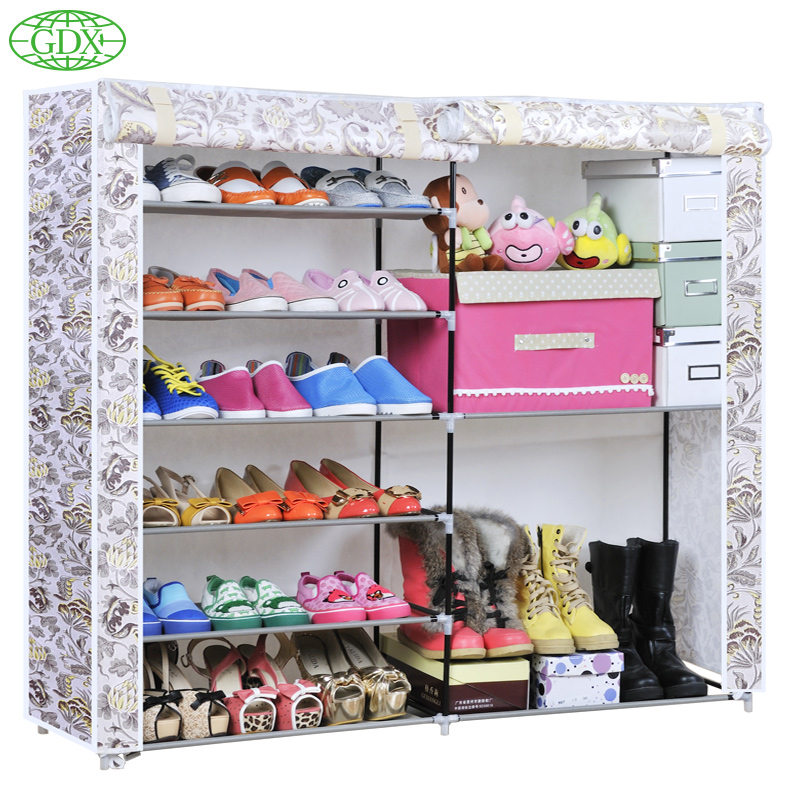 GDX 1pc Free Shipping New 2 Row 6 Tiers 8 Cubes 24 Pairs Large Capacity Simple DIY Shoe Cabinet Boots Closet Rack Footwear Shelf(China (Mainland))