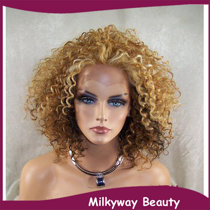 Free Shipping 30 27 613 Afro Curly Brown Blonde Highlight