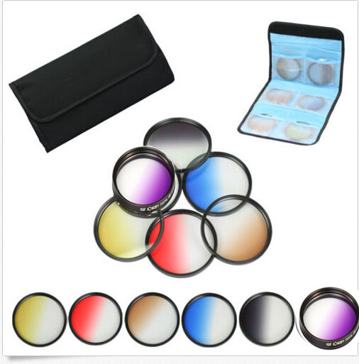 52mm 6pcs Graduated Grey+blue+green+purple+yellow+red Color ND Neutral Density Filter Kit case For Nikon D3200 D5100 18-55mm(China (Mainland))