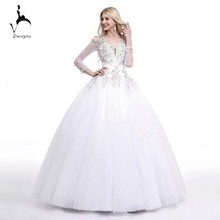 2017 Stunning Ball Gown Backless Wedding Dress With Beaded Appliques 3/4 Sleeve Length Customized Wedding Gown(China (Mainland))