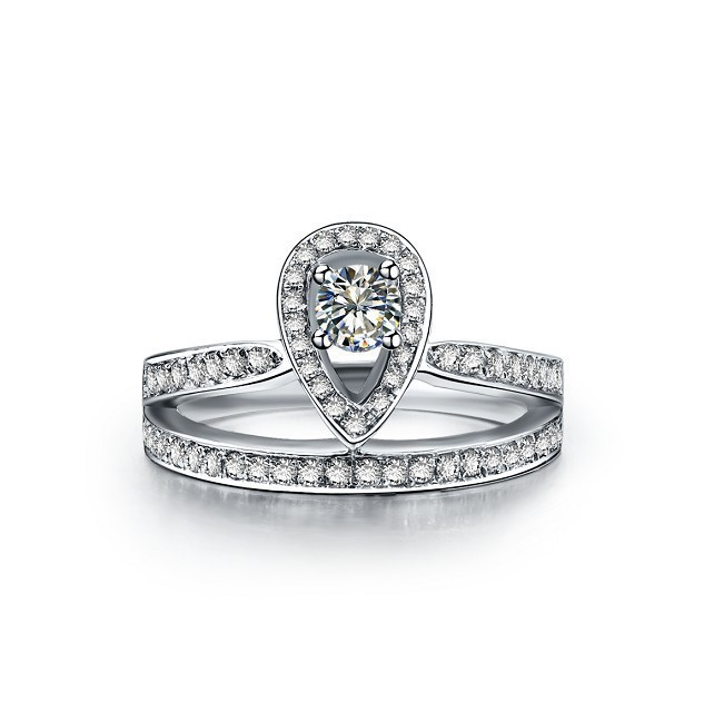 Royal Crown Designer White Gold Genuine 14K Jewelry 0.45ct Synthetic Diamond Ring Engagement Jewelry for Princess Ring 14K Gold(China (Mainland))