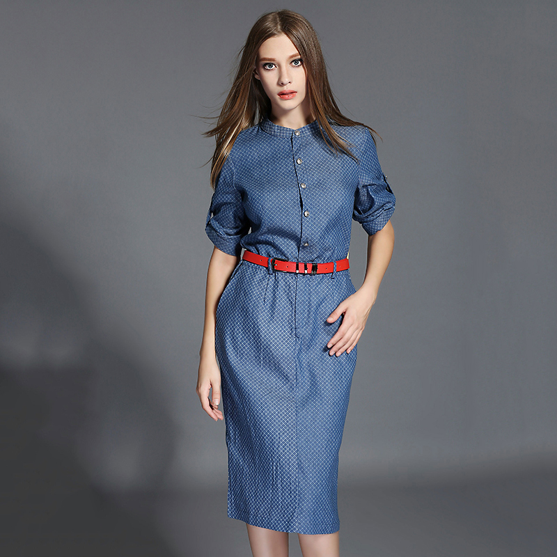 2015 New fashion Brand Blue Jeans Dresses European Woman Office Work Wear Prom Dresses With Belt Stand Collar Vestido OM064Одежда и ак�е��уары<br><br><br>Aliexpress