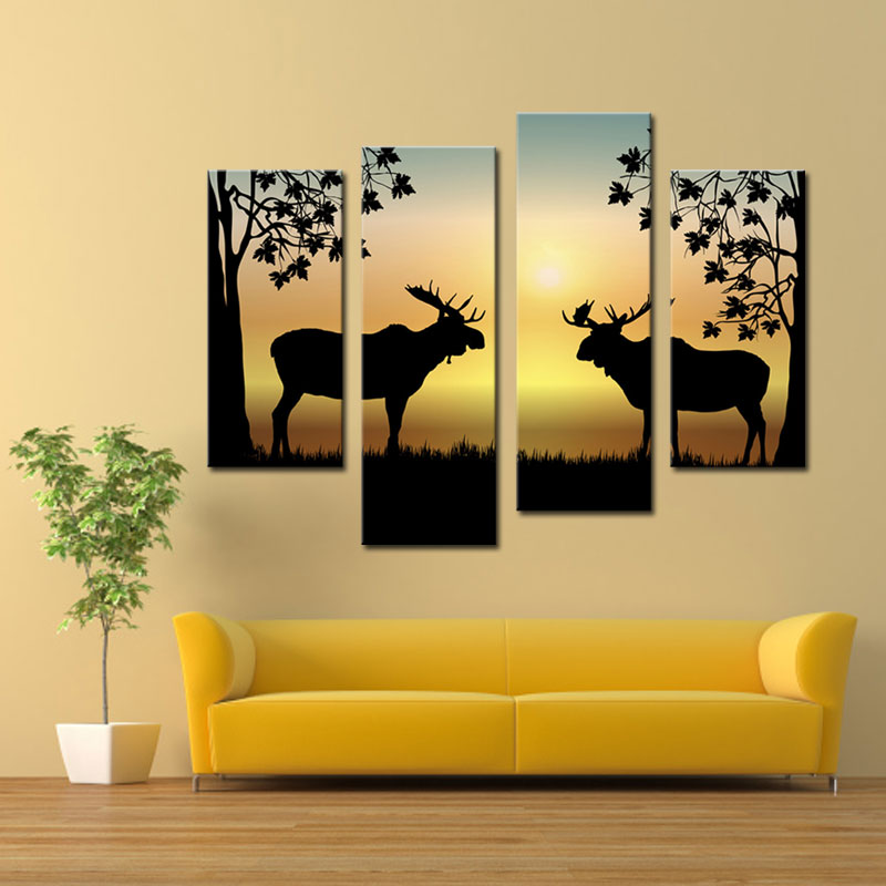 4 Picture Combination Deer Winter Deer Picture - LED Wrapped Canvas Print Shows 2 Deer with Antler Racks Wildlife Wall Decor(China (Mainland))