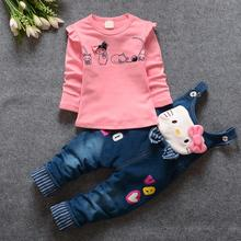 2016 New Hot Spring Baby Clothing Set Children Denim overalls pants + Blouse Full Sleeve Cool Newborn Baby Girl Clothes