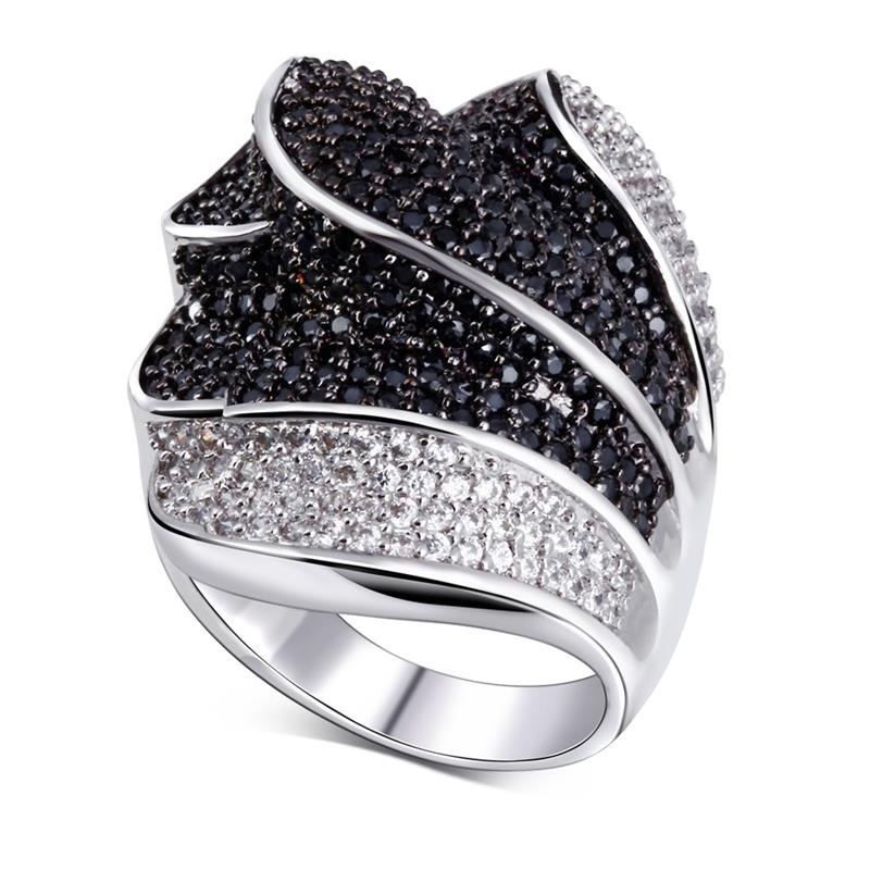 Beautiful Black and white Ring white gold plated Cubic zircon Rings fine jewelry Free shipment Full size(China (Mainland))