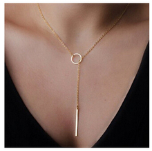 Hot Sale 1pc Casual Fashion Metal Chain Bar Circle Lariat Round Punk Sexy Necklace Pendant E-shine Jewelry T0317