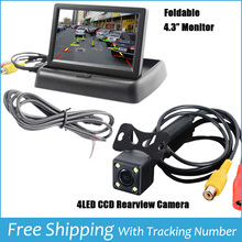"Car LCD Monitor 4.3"" Foldable Color LCD Monitor Car Reverse Rearview 4.3"" Parking System LCD Monitor for Car Rear view Camera(China (Mainland))"