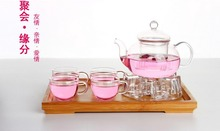 Special Offer – creative effort resistant glass Tea set/ transparent filter Flower Teapot Set  +6 tea cup combination package