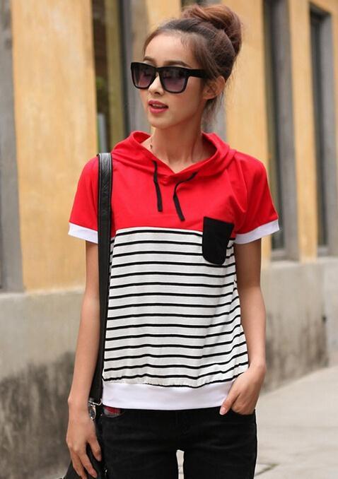 2015 New Cotton striped t-shirt women short sleeve hooded Causal t shirts Women tshirt Summer tops for women clothing tshirts