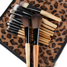 2015 New 12 PCS Pro Makeup Brush Set Cosmetic Tool Leopard Bag Beauty Brushes Cai0686