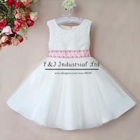 2015 Retail Party Girl Dress Chiffon White Wedding Girls Dresses Top Grace Princess Girls Wear Kids Clothes Free Shipping