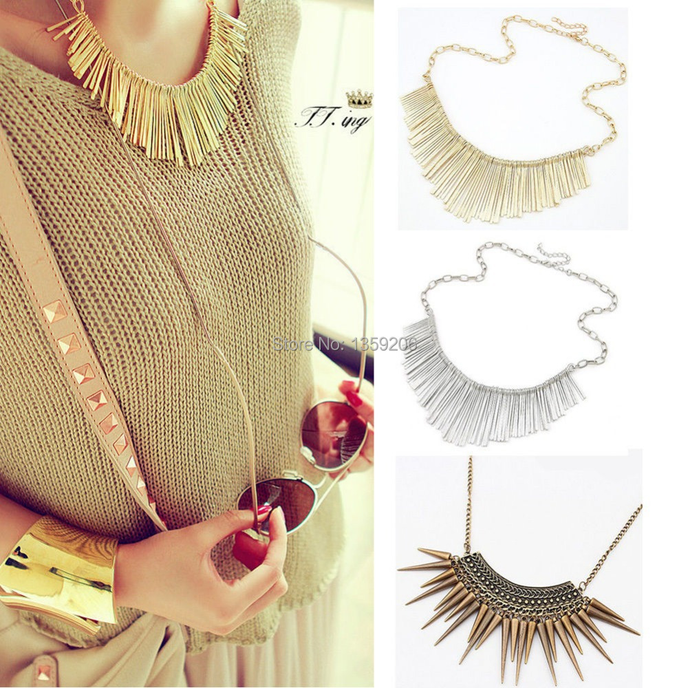 Fashion Womens Girls Gold Silver Metal Multilayer Chain Tassels Choker Bib False Collar Long Necklace - Anglelovebeauty store