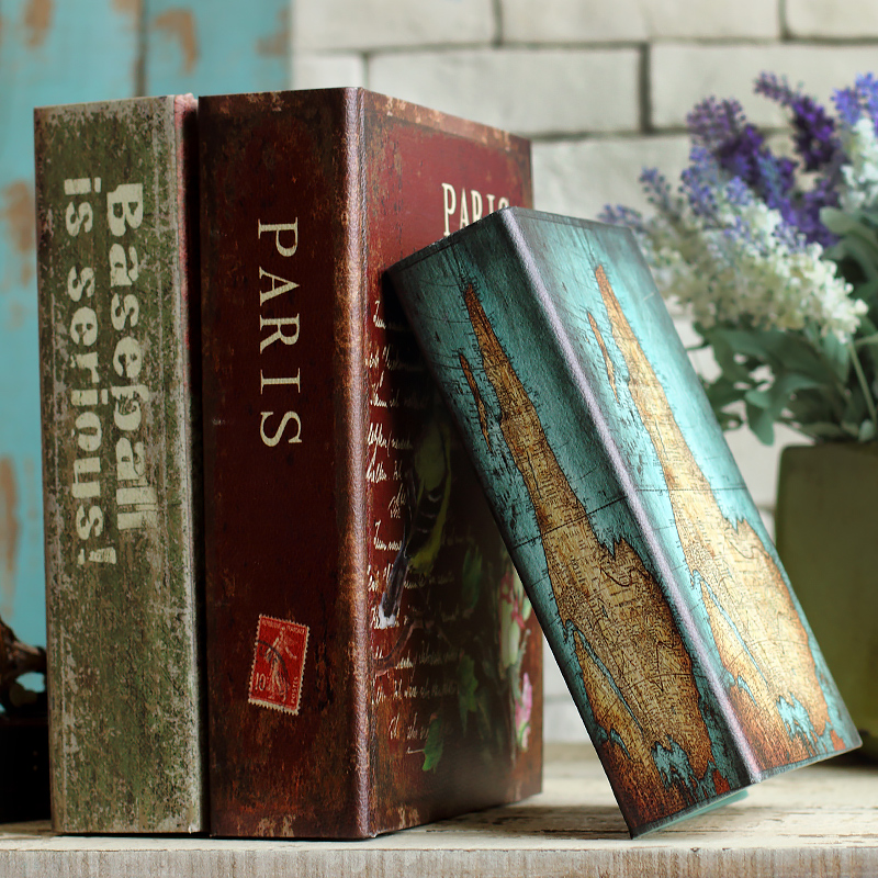 Fashion vintage book decoration props books home storage for Antique books for decoration