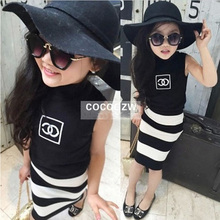 New Style Girl Kids Clothing Sets Black Tops + Stripe Skirts 2 Piece Set Fashion Girls Casual Suit Clothes Children's Clothes