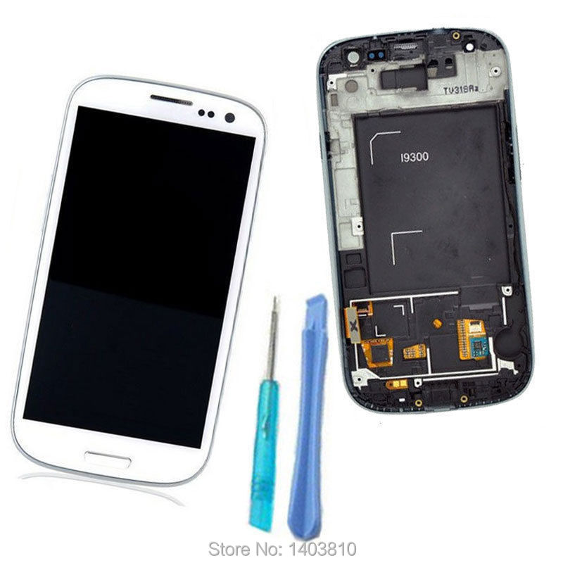 White New LCD Display Touch Screen Digitizer For Samsung Galaxy S3 III i9300 +Frame Assembly(China (Mainland))