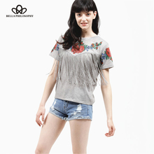 2016 summer new Women wholesale short sleeve chest tassel fringed roses floral printed crew neck grey Tribal High Street t shirt(China (Mainland))