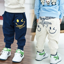 2-8 years High-quality children's spring and autumn clothing child trousers children's pants smiley baby trousers harem pants(China (Mainland))