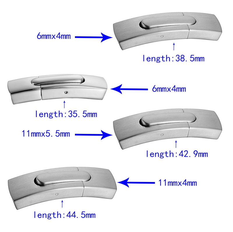 1PC Magnetic Lock Clasp 4 Size Selections Stainless Steel Arc Plain Smooth /Frosted Pattern Jewelry For Leather Bracelet DIY(China (Mainland))