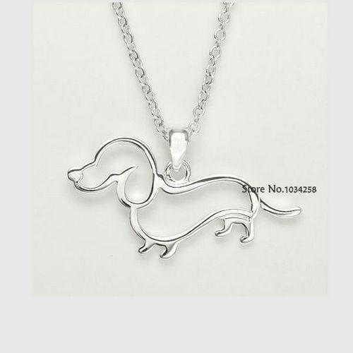 Гаджет  2015 New Cute Little Puppy Dog Pendant Necklace Silver Dachshund Necklace  None Ювелирные изделия и часы