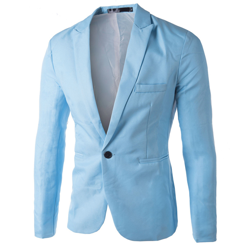 buy brand sky blue blazer men costume veste homme 2015 new arrival mens slim. Black Bedroom Furniture Sets. Home Design Ideas