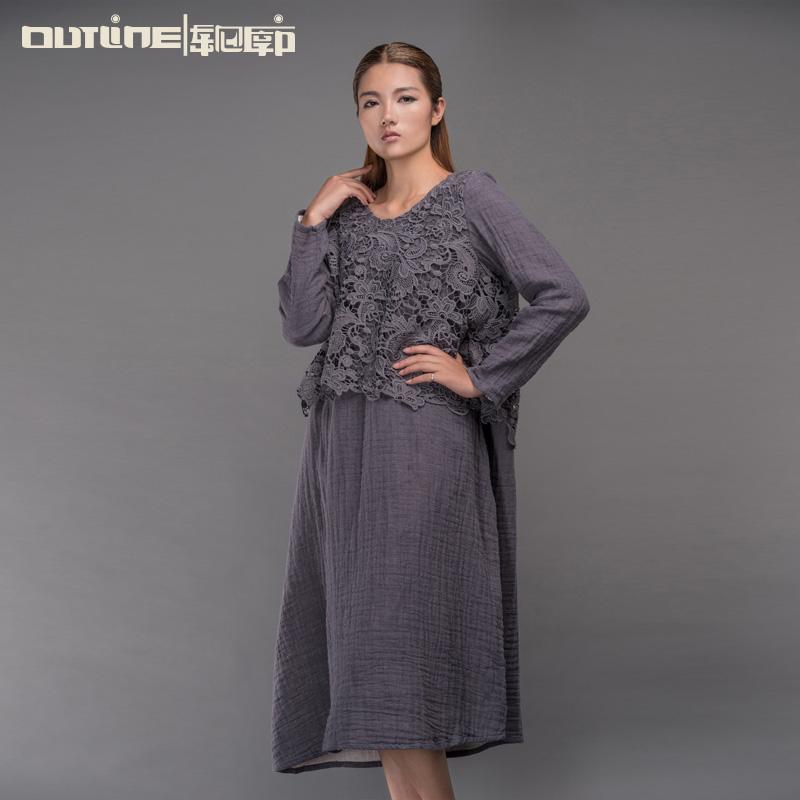Outline Original Design Women Dress Vintage National Trend Cotton Dress Plus Size Loose Long-sleeve Lace Applique Dress L153Y006(China (Mainland))