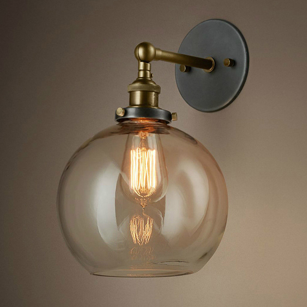 Decorative Glass Wall Lights : Novelty Clear Glass Belly Lampshade Industrial Vintage Country Wall Light Bar/Cafe Store/Room ...