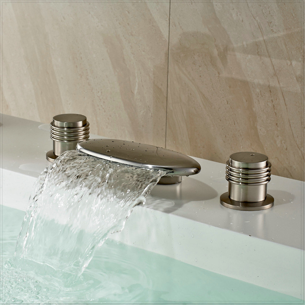Waterfall Widespread Bathtub Filler Faucet Brushed Nickel Deck Mounted Mixer Tap Vasos For