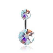 QCOOLJLY חדש מותג AAA זירקון סגנון קריסטל גוף תכשיטי טבור טבעת פירסינג טבור פירסינג כסף צבע Ombligo(China)