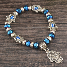 Handmade Beaded Bracelets Hand of Fatima Elephant Charms Evil Eye Bracelets Vintage Women Bracelets Fine Jewelry 1PC(China (Mainland))