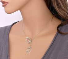 collier fine jewelry maxi necklace summer necklaces pendants choker gros femme colares women Leaves rose gold