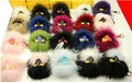 2015 Brand New Design Charm Bag bugs Pendant Real Raccoon Fur Pom handbag holder Accessories Chain
