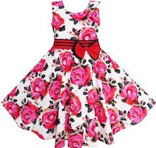 Sunny Fashion Girls Dress Red Rose Party Summer Sundress Cotton Child Clothing Christmas Clothes Size 6-12 Girl Dresses Vestidos