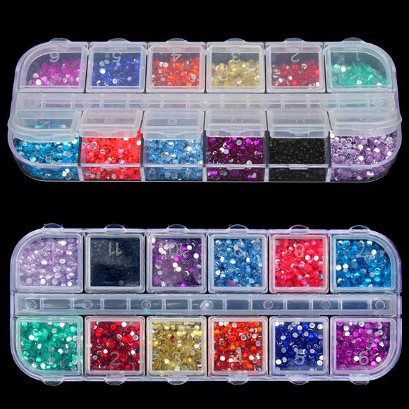 New Mix 12 Color 2mm Circle Beads Nail Art Tips Rhinestones Glitters Acrylic UV Gel Gems Decoration with Hard Case(China (Mainland))