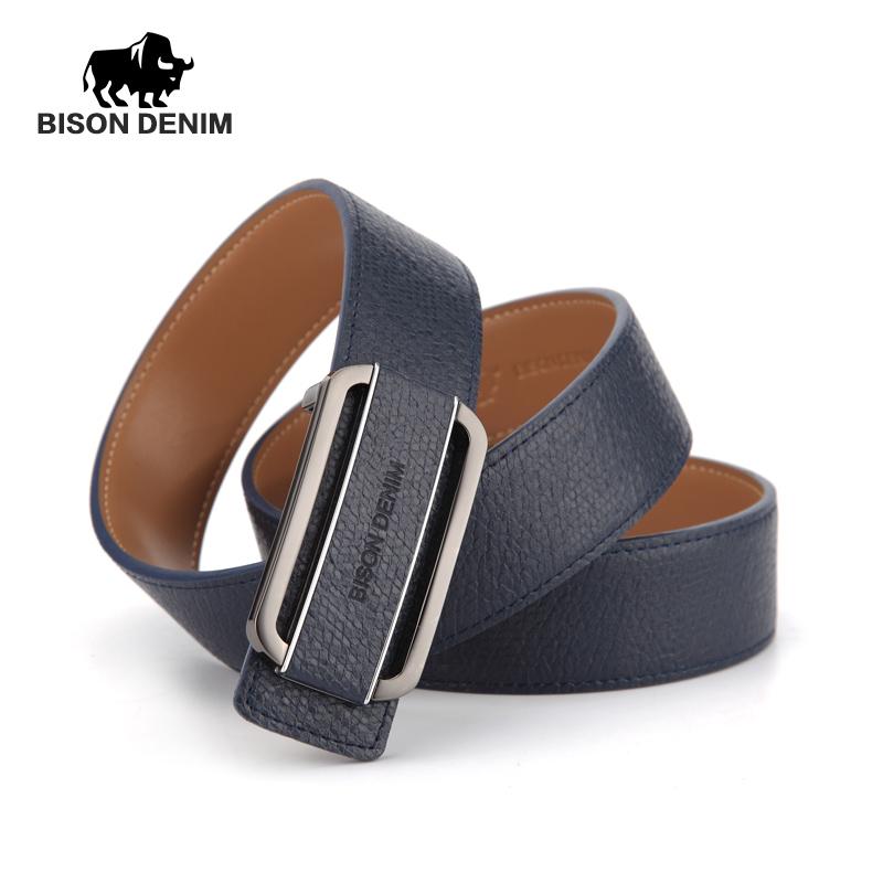 BISON DENIM 2016 New Quality Luxury Belts Mens Cow Leather Belt Brand Designer Men Belt Royal Blue Genuine Leather N70951(China (Mainland))