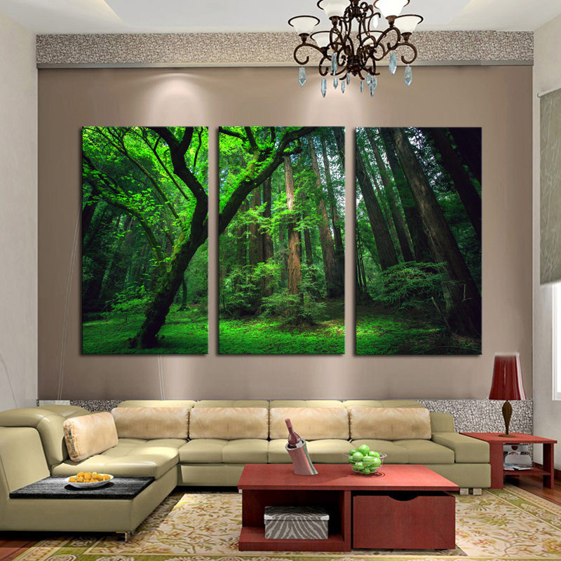 Framed Home Decor Canvas Art Painting Forst Nature Landscape Painting Modern Wall decorative Pictures 3 Panel Wall Art /PT0272(China (Mainland))