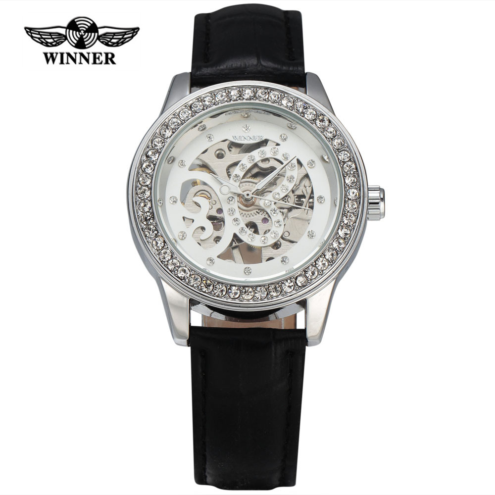2016 Fashion WINNER Hand Winding Mechanical Watches Women Diamond Case Butterfly Skeleton Dial Leather Strap Ladies Dress Watch(China (Mainland))