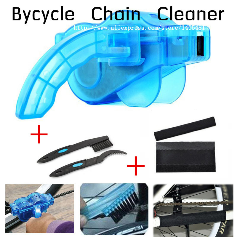 4 PCS / Set Bicycle Chain Cleaner Cycling Cleaning Brushes Bike Quick Washing tool Kits+ Clean Brush+ Chain Protector OD0001(China (Mainland))
