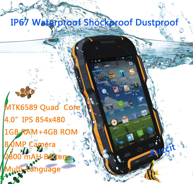 4500mAh Big Battery MTK6582 Quad Core IP67 rugged Android Waterproof Phone Long standby Shockproof Smartphone 3G GPS oinom LMV9(China (Mainland))